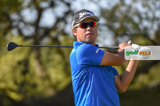 Hideki Matsuyama (JPN) watches his tee shot on 10 during day 1 of the WGC Dell Match Play, at the Austin Country Club, Austin, Texas, USA. 3/27/2019.<br /> Picture: Golffile   Ken Murray<br /> <br /> <br /> All photo usage must carry mandatory copyright credit (© Golffile   Ken Murray)