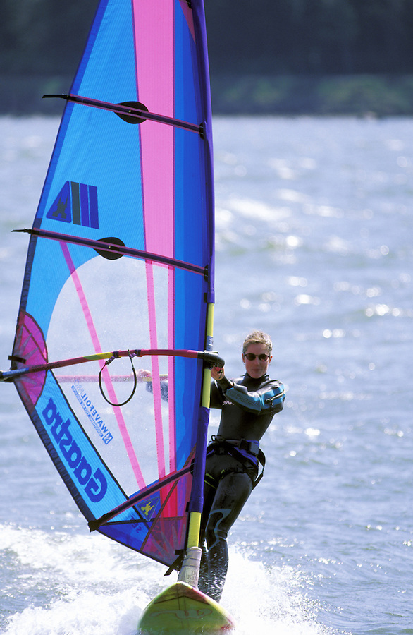 Women sailboarding on Columbia River, Washington