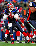 28 December 2008: Buffalo Bills' quarterback Trent Edwards looks for a receiver against the New England Patriots at Ralph Wilson Stadium in Orchard Park, NY. The Patriots kept their playoff hopes alive defeating the Bills 13-0 in their 16th win against Buffalo of their past 17 meetings. ***** Editorial Use Only ******..Mandatory Photo Credit: Ed Wolfstein Photo
