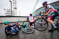 Picture by Alex Whitehead/SWpix.com - 29/05/2018 - Cycling - OVO Energy Tour Series Women's Race - Round 7: Wembley - Trek Drops' Lizzie Holden crashes.