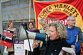 Janet Maiden, a nurse at UCH and Chair of Unison UCH Branch, joins members East London Mental Health Branch to protest outside East London NHS Foundation Trust against privatisation of domestic, catering and portering services, and cuts in nursing staff.
