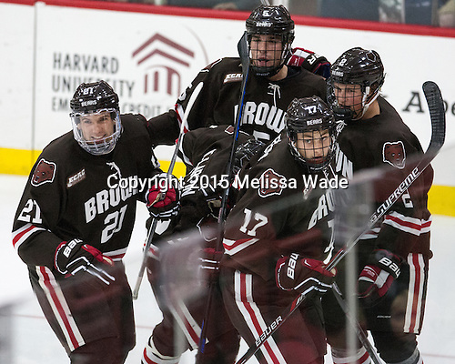 Davey Middleton (Brown - 21), Tyler Wood (Brown - 5), Zack Pryzbek (Brown - 17), Brady Schoo (Brown - 2) - The Harvard University Crimson defeated the visiting Brown University Brown Bears 5-2 (EN) on Saturday, November 7, 2015, at Bright-Landry Center in Boston, Massachusetts.