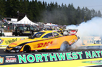 Aug. 3, 2014; Kent, WA, USA; NHRA funny car driver Del Worsham during the Northwest Nationals at Pacific Raceways. Mandatory Credit: Mark J. Rebilas-