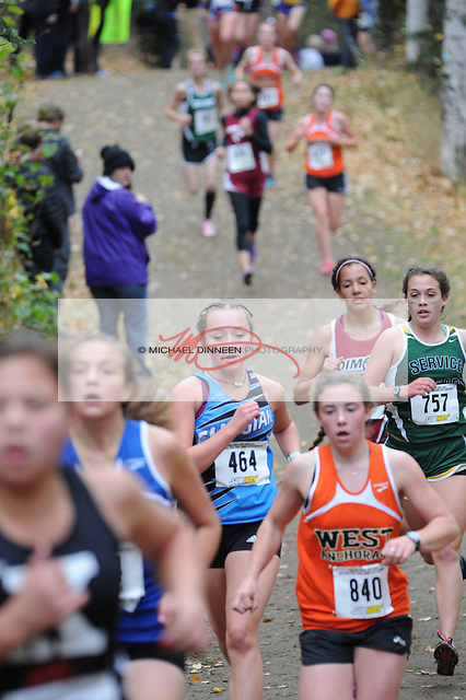 Chugiak's Emma Blei runs to a 48 th -place finish at the Alaska State Cross-Country Championshps Saturday, Oct. 1, 2016,  She ran a personal-best 21:03.  Photo for the Star by  Michael Dinneen