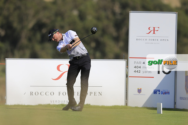 Michael Hoey (NIR) on the 10th during the 1st round the The Rocco Forte Open, Verdura Golf &amp; Spa Resort, Agrigento, Sicily, Italy. 18/05/2017.<br /> Picture: Golffile | Fran Caffrey<br /> <br /> <br /> All photo usage must carry mandatory copyright credit (&copy; Golffile | Fran Caffrey)