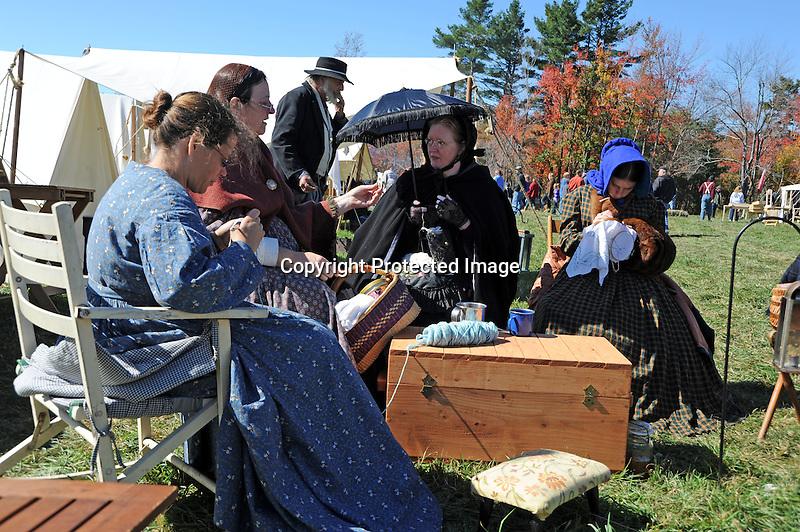 Civil War Reenactment Unity Village Camp Sewing Group Ladies