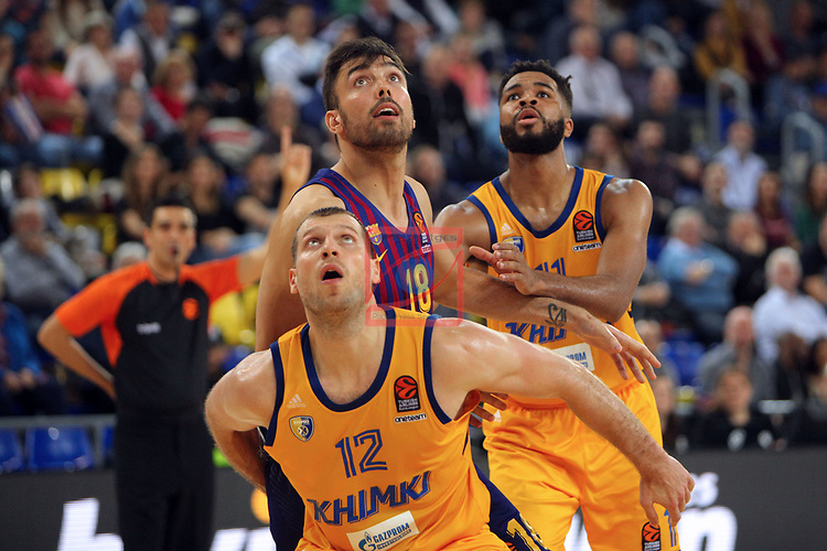 Turkish Airlines Euroleague 2018/2019. <br /> Regular Season-Round 30.<br /> FC Barcelona Lassa vs Khimki Moscow Region: 83-74. <br /> Sergey Monia vs Pierre Oriola.
