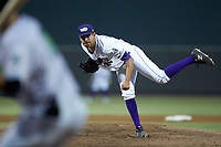 Winston-Salem Dash starting pitcher Cristian Castillo (29) follows through on his delivery against the Lynchburg Hillcats at BB&T Ballpark on May 9, 2019 in Winston-Salem, North Carolina. The Dash defeated the Hillcats 4-1. (Brian Westerholt/Four Seam Images)