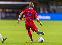 WASHINGTON, DC - OCTOBER 11: Jackson Yueill #14 of the United States passes the ball during a game between Cuba and USMNT at Audi Field on October 11, 2019 in Washington, DC.