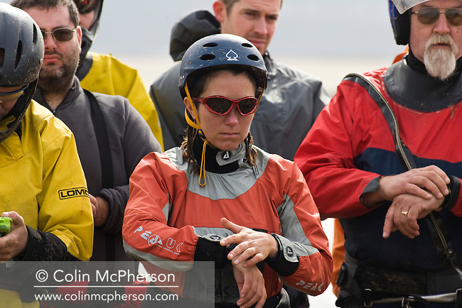 One of the competitors listening to judges instructions before one of the races at the European Kite Buggy Championships at Hoylake, Wirral, north west England. Around 75 buggies, with both male and female pilots, from 10 countries took part in the annual event which lasted from 5-9 September 2011. The three-wheeled, single-seated, steel frame buggy was powered  by a traction, or power kite and could achieve speeds of up to 70mph/110km/h.