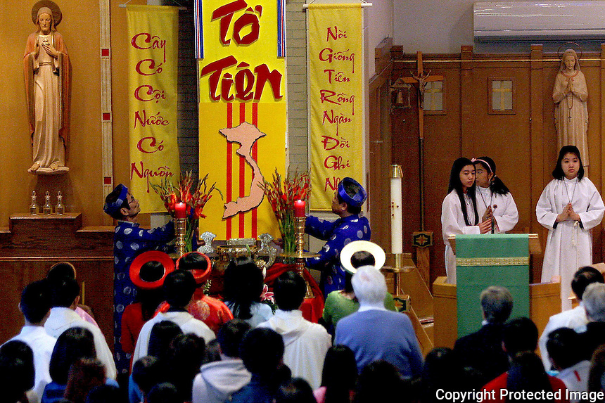 St. Bernadette's Parish in Randolph held a Vietnamese Lunar New Year Mass and celebration Sunday. (Photo by Gary Wilcox)