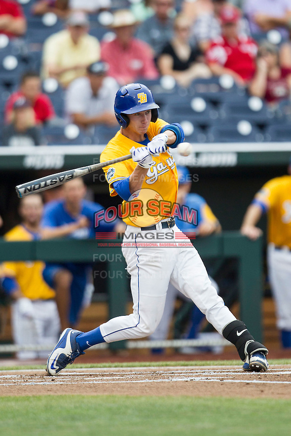 UC Santa Barbara Gauchos shortstop Clay Fisher (17) swings the bat against the Miami Hurricanes in Game 5 of the NCAA College World Series on June 20, 2016 at TD Ameritrade Park in Omaha, Nebraska. UC Santa Barbara defeated Miami  5-3. (Andrew Woolley/Four Seam Images)