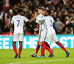 England's Jamie Vardy celebrates scoring his sides second goal during the friendly match at Wembley Stadium, London. Picture date November 15th, 2016 Pic David Klein/Sportimage
