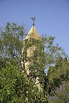 Israel, Alonim Hills. The bell tower of the old Church in Alonei Aba, site of the Templer colony Waldheim