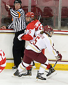 Bill Doiron, Caroline Campbell (BU - 16), Alex Carpenter (BC - 5) - The Boston College Eagles tied the visiting Boston University Terriers 5-5 on Saturday, November 3, 2012, at Kelley Rink in Conte Forum in Chestnut Hill, Massachusetts.