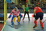 Leipzig, Germany, February 08: Sergey Spichkovskiy #11 of Russia tries to score during the placement match (5th / 6th) between Sweden (yellow) and Russia (red) on February 8, 2015 at the FIH Indoor Hockey World Cup at Arena Leipzig in Leipzig, Germany. Final score 1-3 (1-0). (Photo by Dirk Markgraf / www.265-images.com) *** Local caption *** Niclas Franzen #1 of Sweden, Sergey Spichkovskiy #11 of Russia