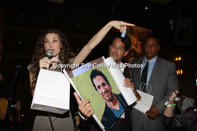 Alicia Minshew and Ricky Paull Goldin - auction Thorsten Kaye poster at All My Children's Good Night Pine Valley was held on September 17, 2011 at Prohibition, New York City, New York.  (Photo by Sue Coflin/Max Photos)