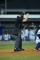 Home plate umpire Lane Culipher makes a strike call during the game between the Johnson City Cardinals and the Burlington Royals at Burlington Athletic Stadium on September 4, 2019 in Burlington, North Carolina. The Cardinals defeated the Royals 8-6 to win the 2019 Appalachian League Championship. (Brian Westerholt/Four Seam Images)