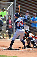 Atlanta Braves Ian Hagenmiller (28) during a minor league spring training game against the Houston Astros on March 29, 2015 at the Osceola County Stadium Complex in Kissimmee, Florida.  (Mike Janes/Four Seam Images)