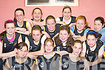 BASKETBALL BLITZ: Currow NS who competed against Kilmurray NS in the National Schools Girls Senior A Final at the St Mary's basketball blitz in Castleisland Community Centre on Sunday were front l-r: Ciara Forde, Rhianne Gallagher, Aislinn O'Sullivan, Sheonagh Fleming, Louise O'Mahony, Sinead Griffin, Lorna O'Shea, Marie Brosnan, Colleen Breen, Meagan Fitzgerald, Niamh Sheehy, Sorcha O'Connor and Patare Fleming.   Copyright Kerry's Eye 2008