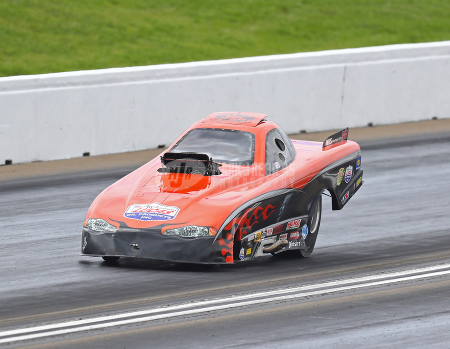 May 20, 2017; Topeka, KS, USA; NHRA top alcohol funny car driver Scott McVey during qualifying for the Heartland Nationals at Heartland Park Topeka. Mandatory Credit: Mark J. Rebilas-USA TODAY Sports
