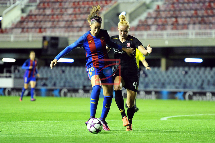 UEFA Women's Champions League 2016/2017.<br /> Round of 16 - First Leg<br /> FC Barcelona vs Twente: 1-0.<br /> Olga Garcia vs Kerkdijk.