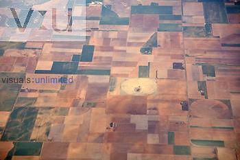Aerial view of agricultural fields, Texas, USA. Note several circular irrigation fields.