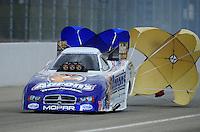 Feb. 11, 2012; Pomona, CA, USA; NHRA funny car driver Matt Hagan during qualifying for the Winternationals at Auto Club Raceway at Pomona. Mandatory Credit: Mark J. Rebilas-