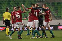 Members of Team Hungary celebrates their victory during the UEFA Nations' League qualifying match between Hungary and Greece at the Groupama Arena stadium in Budapest, Hungary on Sept. 11, 2018. ATTILA VOLGYI