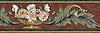 """27"""" Monique border, a hand-cut stone mosaic, shown in polished Verdi Alpi, Verde Luna, Giallo Reale, Aegean Brown, Chartreuse, Renaissance Bronze, Crema Marfil, Rosa Portagallo, Crema Valencia, Calacatta Tia, Alba Chiara, Rosa Noriega, Rosa Verona, Spring Green, Joanna, Travertine Noce, Red Lake, Carrara, and Bardiglio."""