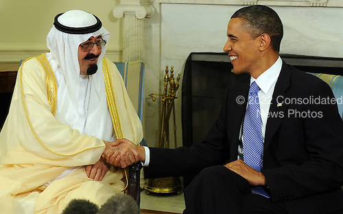 United States President Barack Obama and King Abdullah of Saudi Arabia shake hands as they speak to the media after their meeting in the Oval Office of the White House in Washington on June 29, 2010.   .Credit: Roger L. Wollenberg - Pool via CNP