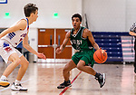 WOODBURY, CT. 08 January 2020-010820BS554 - Wilby's Calvin Hicks (2), right, looks to make a move against Nonnewaug's Colby Steinfeld (1), during a Boys Basketball game betweem Wilby and Nonnewaug at Nonnewaug High School in Woodbury on Wednesday. Bill Shettle Republican-American