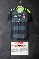 Sophie Ingle's 2016/17 Wales away shirt is displayed at The Art of the Wales Shirt Exhibition at St Fagans National Museum of History in Cardiff, Wales, UK. Monday 11 November 2019