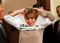 Silvio Berlusconi  a Napoli  Durante il  il suo tour a sostegno dei candidati presidenti alle prossime elezioni regionali<br /> nella foto con Alessandra Mussolini