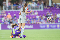 Orlando, FL - Sunday May 14, 2017: Toni Pressley, Ashley Hatch during a regular season National Women's Soccer League (NWSL) match between the Orlando Pride and the North Carolina Courage at Orlando City Stadium.