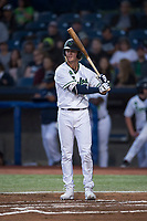 Hillsboro Hops shortstop LT Tolbert (11) at bat during a Northwest League game against the Salem-Keizer Volcanoes at Ron Tonkin Field on September 1, 2018 in Hillsboro, Oregon. The Salem-Keizer Volcanoes defeated the Hillsboro Hops by a score of 3-1. (Zachary Lucy/Four Seam Images)
