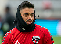 WASHINGTON, DC - FEBRUARY 29: Junior Moreno #5 of DC United warms up on a cold day during a game between Colorado Rapids and D.C. United at Audi Field on February 29, 2020 in Washington, DC.