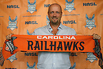 06 December 2011: Colin Clarke. The Carolina RailHawks introduced Colin Clarke (NIR) as the team's new head coach at a press conference held at WakeMed Stadium in Cary, North Carolina. The RailHawks play in the North American Soccer League, the second division of professional soccer in the United States and Canada.