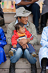 Father and son at festival, Mongolia