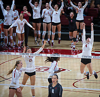 STANFORD, CA - October 12, 2018: Meghan McClure, Sidney Wilson, Jenna Gray, Tami Alade at Maples Pavilion. No. 2 Stanford Cardinal swept No. 21 Washington State Cougars, 25-15, 30-28, 25-12.