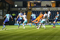 Adebayo Akinfenwa of Wycombe Wanderers (20) scores the opening goal of the game during the The Checkatrade Trophy match between Wycombe Wanderers and West Ham United U21 at Adams Park, High Wycombe, England on 4 October 2016. Photo by David Horn.