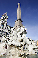 La Fontana dei Quattro Fiumi in Piazza Navona a Roma.<br /> The Fountain of the Four Rivers in Piazza Navona, Rome.<br /> UPDATE IMAGES PRESS/Riccardo De Luca