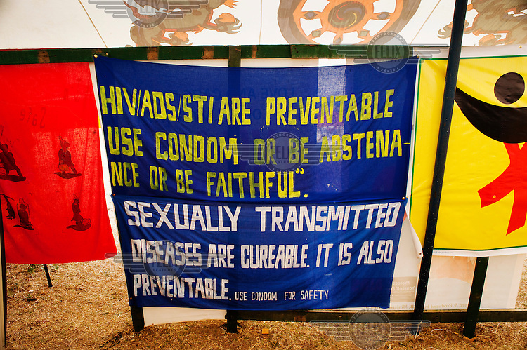 A sexual health information banner advocating condom use at the Paro Tsechus Festival.