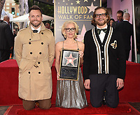 HOLLYWOOD, CA - JANUARY 8:  Joel McHale, Gillian Anderson, and Bryan Fuller as Gillian Anderson is honored with a star on The Hollywood Walk of Fame on on January 8, 2018 in Los Angeles, California. (Photo by Frank Micelotta/Fox/PictureGroup)
