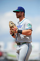 Hartford Yard Goats first baseman Brian Mundell (15) during a game against the Binghamton Rumble Ponies on July 9, 2017 at NYSEG Stadium in Binghamton, New York.  Hartford defeated Binghamton 7-3.  (Mike Janes/Four Seam Images)