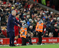 24th February 2020; Anfield, Liverpool, Merseyside, England; English Premier League Football, Liverpool versus West Ham United; West Ham United manager David Moyes reacts to the action