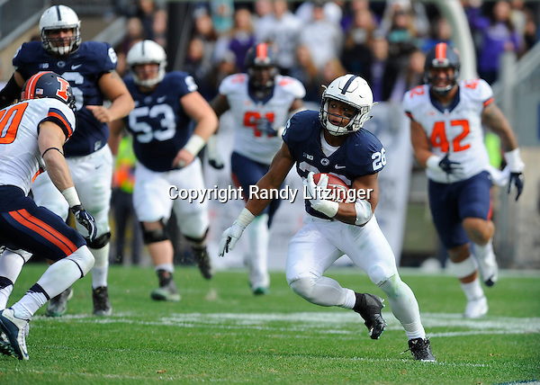 31 October 2015:  Penn State RB Saquon Barkley (26) makes a move or juke before cutting in open field. The Penn State Nittany Lions defeated the Illinois Fighting Illini 39-0 at Beaver Stadium in State College, PA. (Photo by Randy Litzinger/Icon Sportswire)