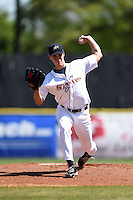 Huntsville Stars pitcher Brent Suter (24) delivers a pitch during a game against the Mobile BayBears on April 23, 2014 at Joe Davis Stadium in Huntsville, Tennessee.  Huntsville defeated Mobile 4-1.  (Mike Janes/Four Seam Images)