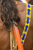 Altamira, Brazil. Respected ants,   beadwork design sash with feather and cord decorations. Kayapo Indian's back.