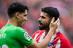 Diego Costa of Atletico de Madrid (R) speaks to goalkeeper Yassine Bounou of Girona FC prior to the La Liga 2017-18 match between Atletico de Madrid and Girona FC at Wanda Metropolitano on 20 January 2018 in Madrid, Spain. Photo by Diego Gonzalez / Power Sport Images